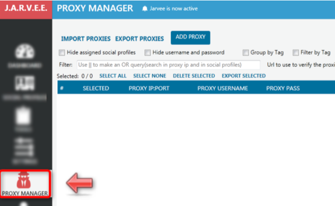 In the control panel press the «PROXY MANAGER» button