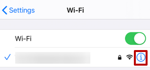 Press the «i» button located near the Wi-Fi network to which you are connected