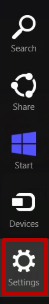 Open the bar on the desktop and find the «Settings» icon