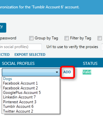 Click the drop-down box «SOCIAL PROFILES», select the required account and press the «ADD» button