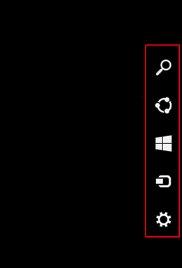 Set the mouse pointer in the window interface mode in the lower right corner until the side menu appears