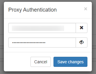 Enter the login and password from the purchased proxy server and press the «Save changes» button