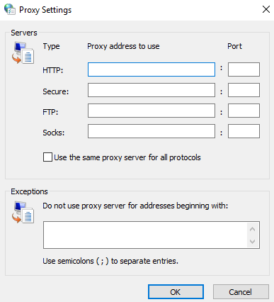 Enter the proxy data. In the first field, you should type a server IP address
