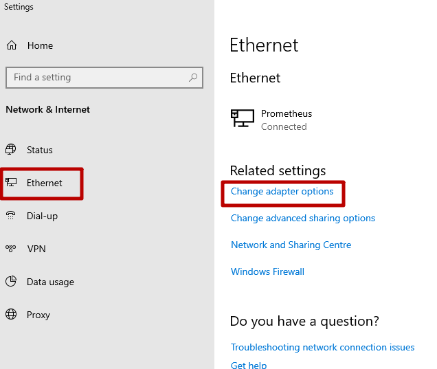 In the «Ethernet» menu, click «Change adapter settings»