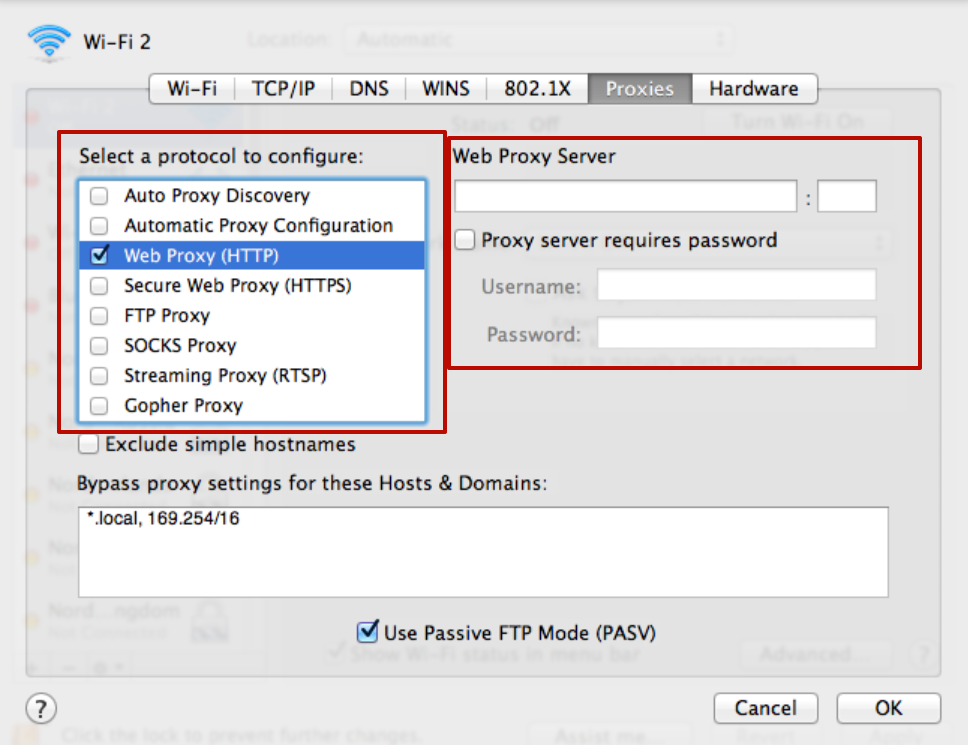 "Fill in the fields for entering the address or port of the selected server. Click on the ""OK"" button."