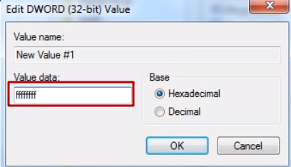 We set the value of this parameter (ffffffff), but not in decimal, but in hexadecimal