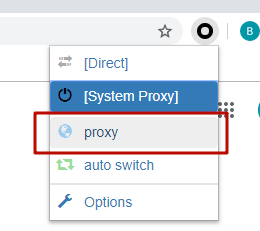 Open a new tab of your browser. Press SwitchyOmega icon and choose the configured profile «proxy»