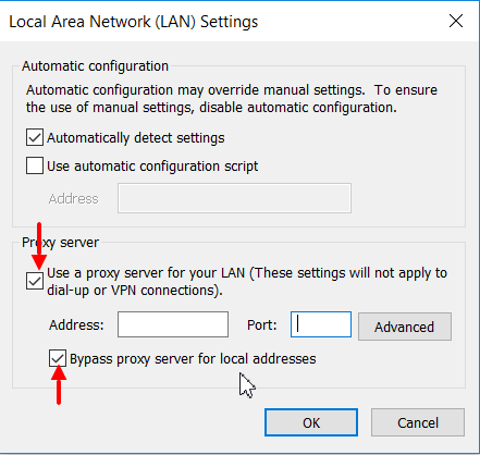 Network configuration for proxy