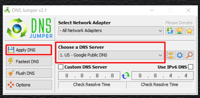 Select the appropriate DNS server where it says «Choose a DNS Server». Click on the «Apply DNS» button